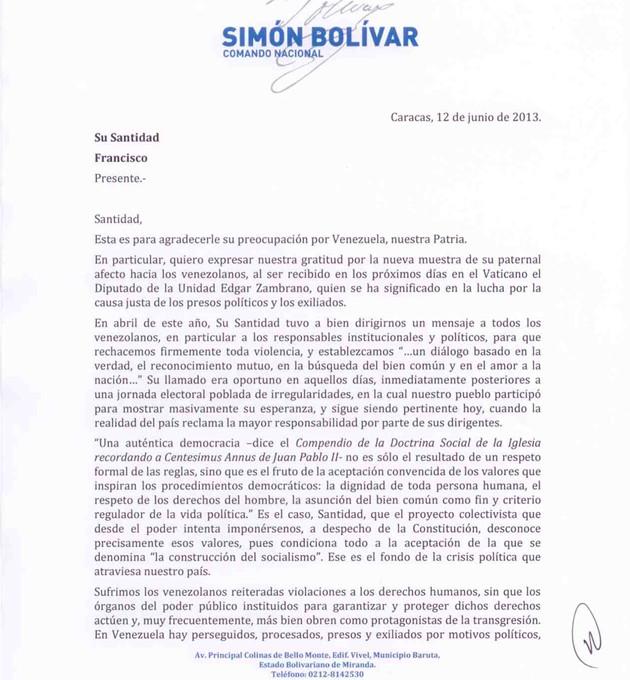 Carta de Capriles al Papa