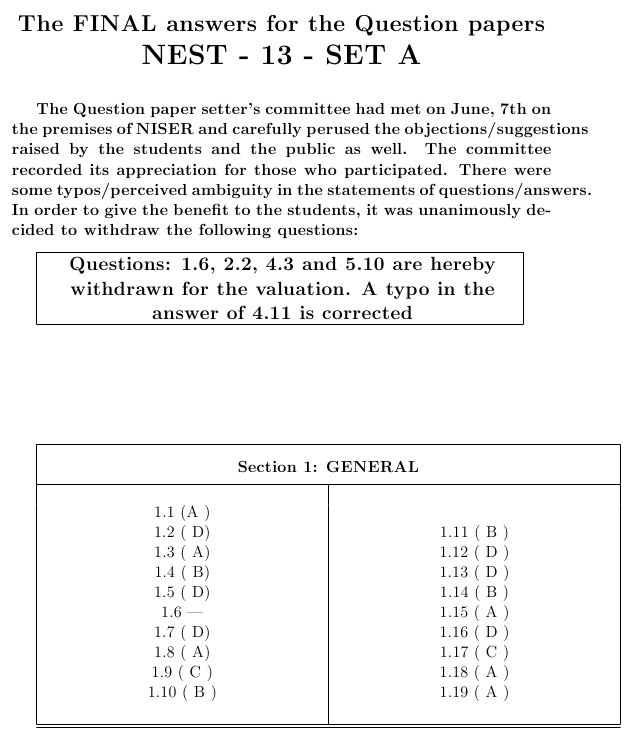 NEST 2013 Question Papers with Answers   question papers  Image