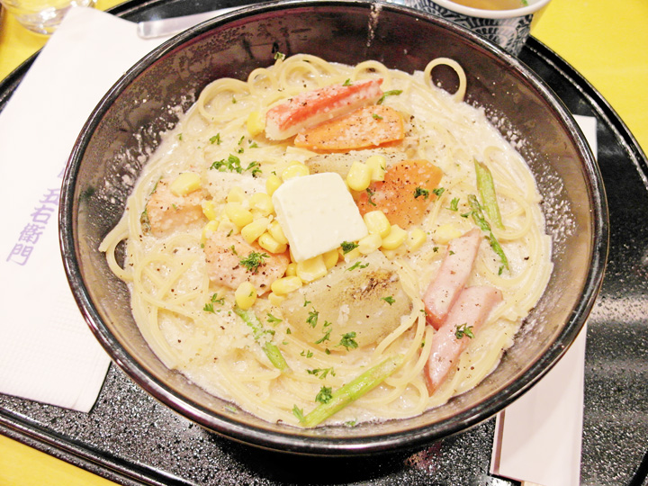 Hokkaido Cheese Cream Soup Spaghetti with Scallop, Corn, Bacon & Potato
