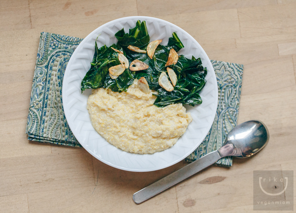 Vegan Creamy Grits + Garlicky Collard Greens