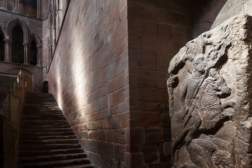 Tomb for a Roman standard bearer guards the night stairs at Hexham Abbey