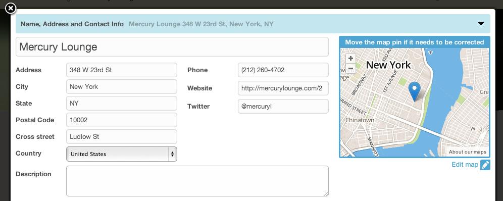 Edit button on Foursquare maps