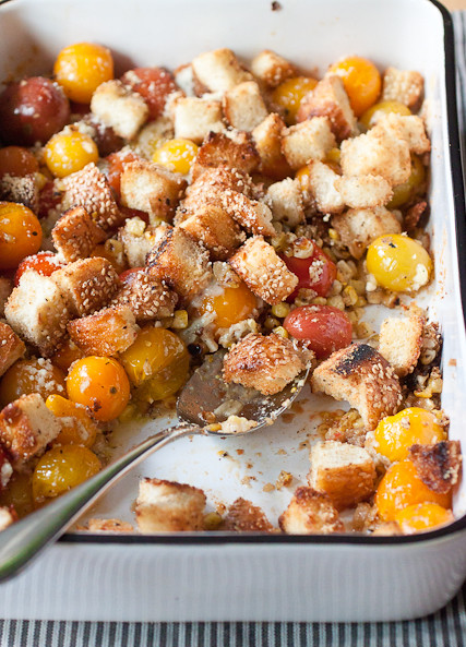 Scalloped Tomatoes with Charred Corn and Blue Cheese