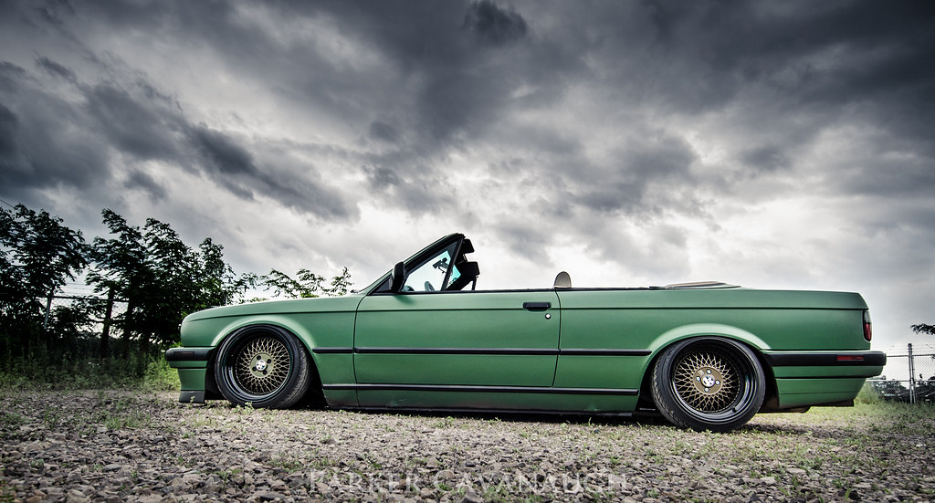 "BMW e30 convertible with klutch wheels 16x8"" and 16x9"" black and bronze bagged air bags"