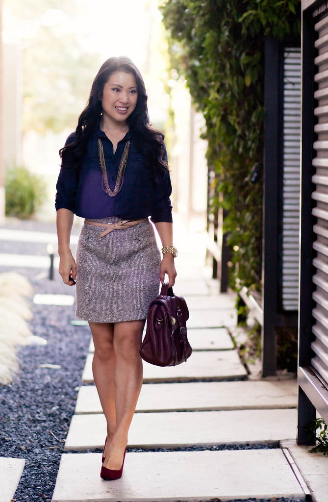 cute \u0026amp; little   Dallas Fashion Blog: Tweed + Red Suede Shoes