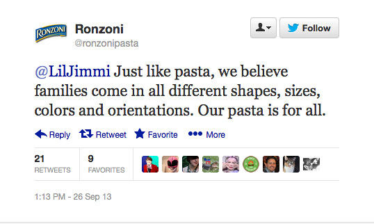 A supportive tweet from Ronzoni's Twitter account