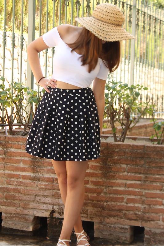 OOTD, hat, bardot crop top, polka dot skirt, sandals
