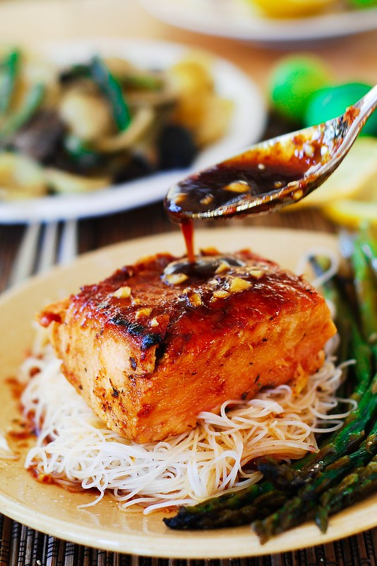 Asian salmon with rice noodles and asparagus julias album asian glazed salmon with rice noodles and asparagus asian food asian recipes asian forumfinder Image collections