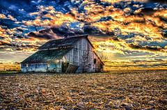 HDR - Abandoned Barn at Sunset