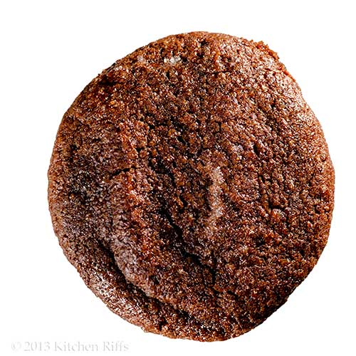 Double Orange Dark Chocolate Cookie, overhead view on white