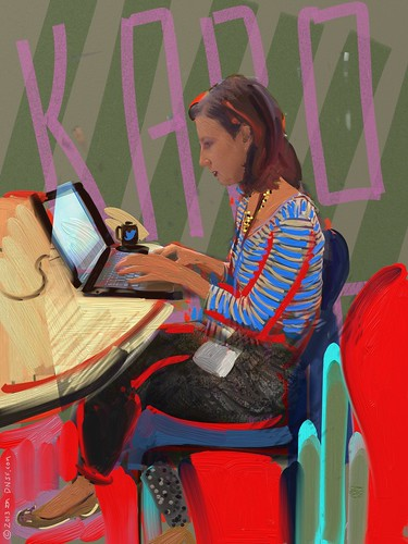 iPad Portrait of Karolina Tekiela Working on Her Gucci-Sponsored Chime For Change at Chimehack at Twitter HQ Today by DNSF David Newman