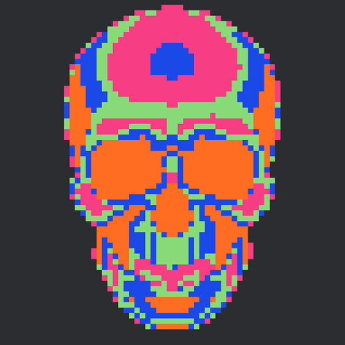 Rainbow Skull pattern image only