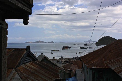 View of the Labuan Bajo harbor on Flores from an alley
