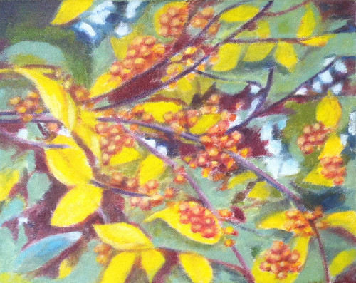Branch with Golden Berries (Oil Bar Painting as of Dec. 21, 2013) by randubnick