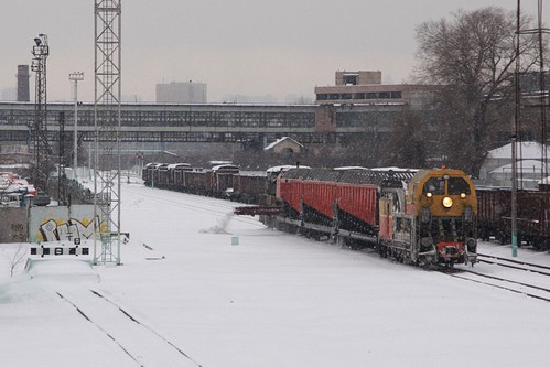 With the hopper wagons full, the snow clearance train dumps the collected snow