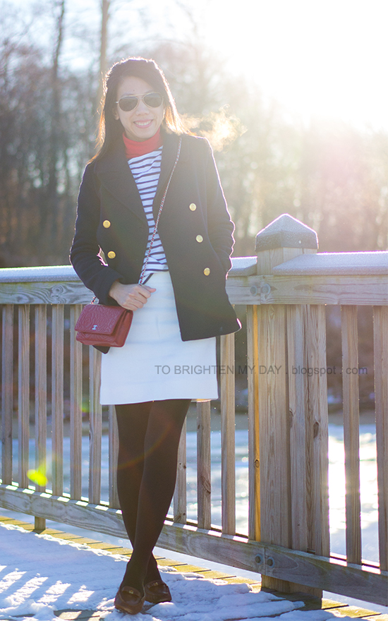 navy peacoat, striped top, white wool skirt