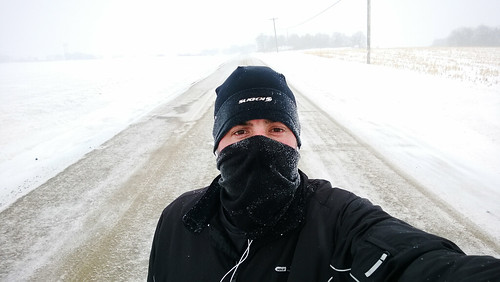 10 mile run with 10 mph winds and +5°F degree wind chill. in. a. snow storm. I.