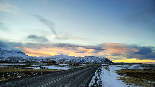 road winter sunset snow mountains clouds iceland widescreen oru 169 2015