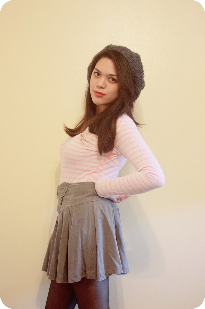 Swap & Style with Sweets and Hearts and The Demure Muse featuring neon pink striped long-sleeve t-shirt by Aeropostale