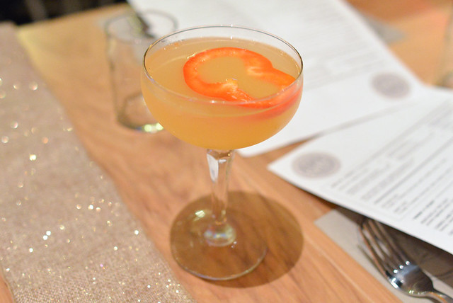 LADY IN THE BALLROOM grapefruit vodka, st germain, red bell pepper, mint, lemon juice