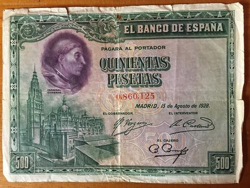 500 pesetas de 1928, billete