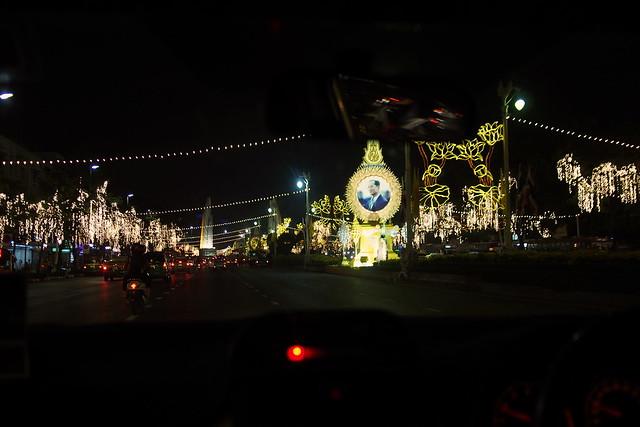 Thai King's birthday light-up. Bangkok, Thailand