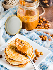 peanut butter in a jar, eat a teaspoon and pancake…