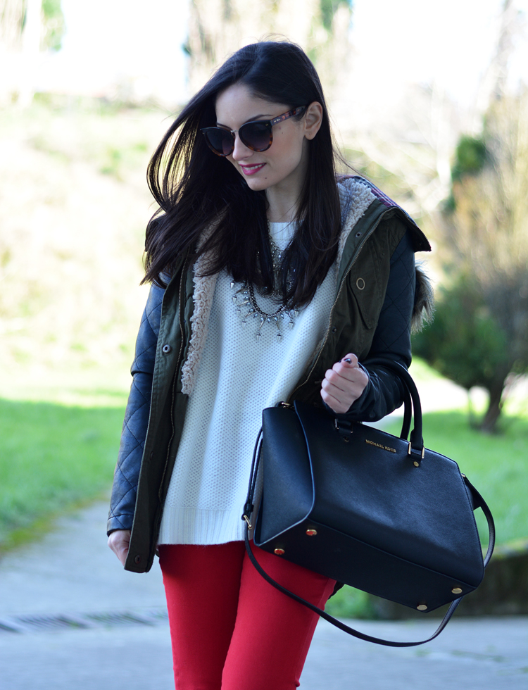 ZARA_ootd_chicwish_sheinside_parka_necklace_rojo_michael kors_06