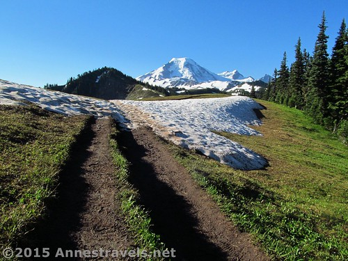 Cresting Skyline Divide into the first real view on the trail, Mount Baker-Snoqualmie National Forest, Washington