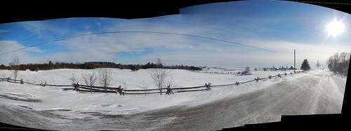 road winter autostitch panorama snow ontario canada rural fence landscape nikon highway farm pano pasture fields lanarkcounty