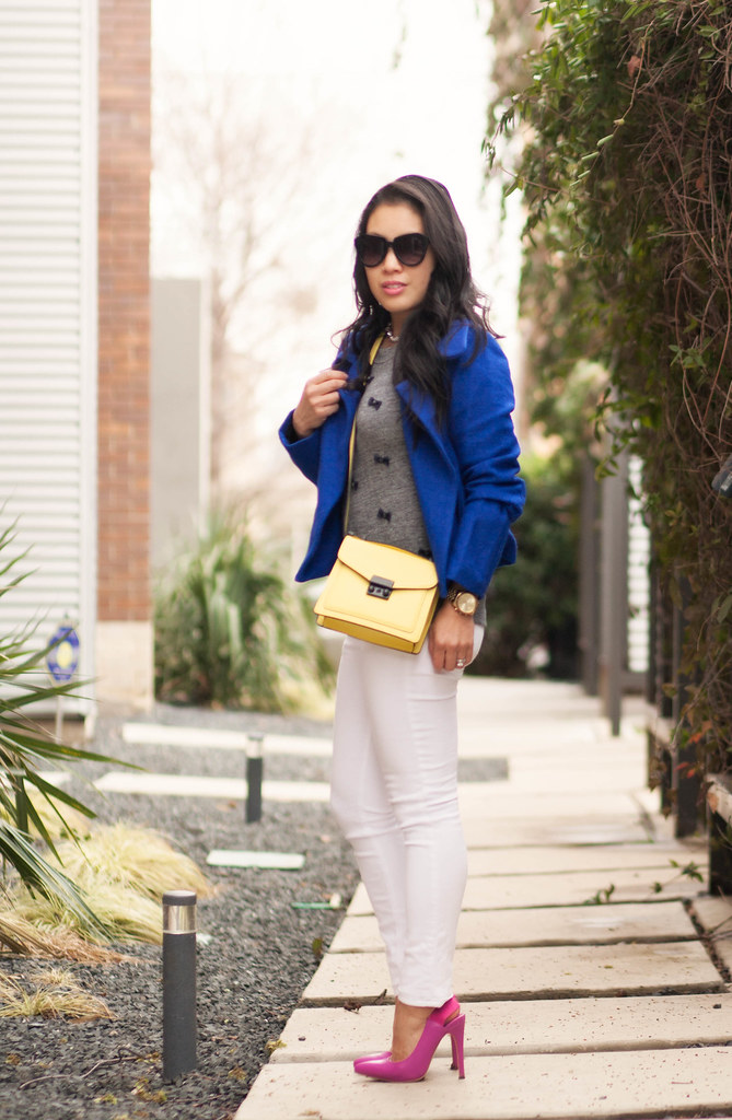 cute & little blog | petite fashion | cobalt blue cropped wool coat, j.crew bow embellished sweater, white jeans, shoedazzle pink pumps, yellow crossbody bag | fall winter outfit