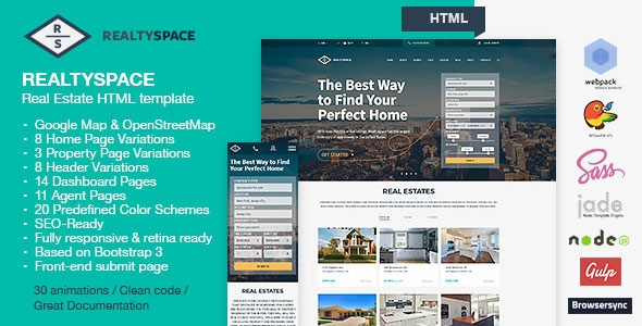Realtyspace v2.2 – Real Estate HTML5 Template + Dashboard Included