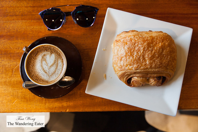 Caappuccino and huge chocolate croissant