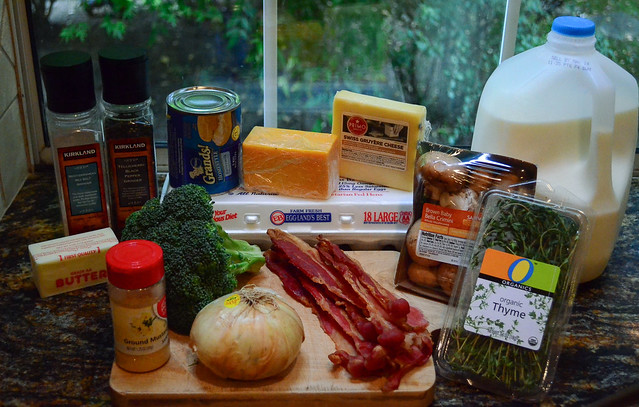 All the ingredients required to make Easy Broccoli Bacon Breakfast Bake.