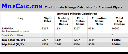 SAN to MIA First Class Mileage Bonus
