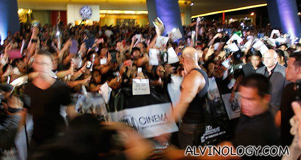 The crowd going crazy as Vin Diesel walks in