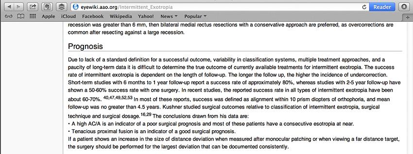Eyewiki Prognosis for Intermittent Exotropia