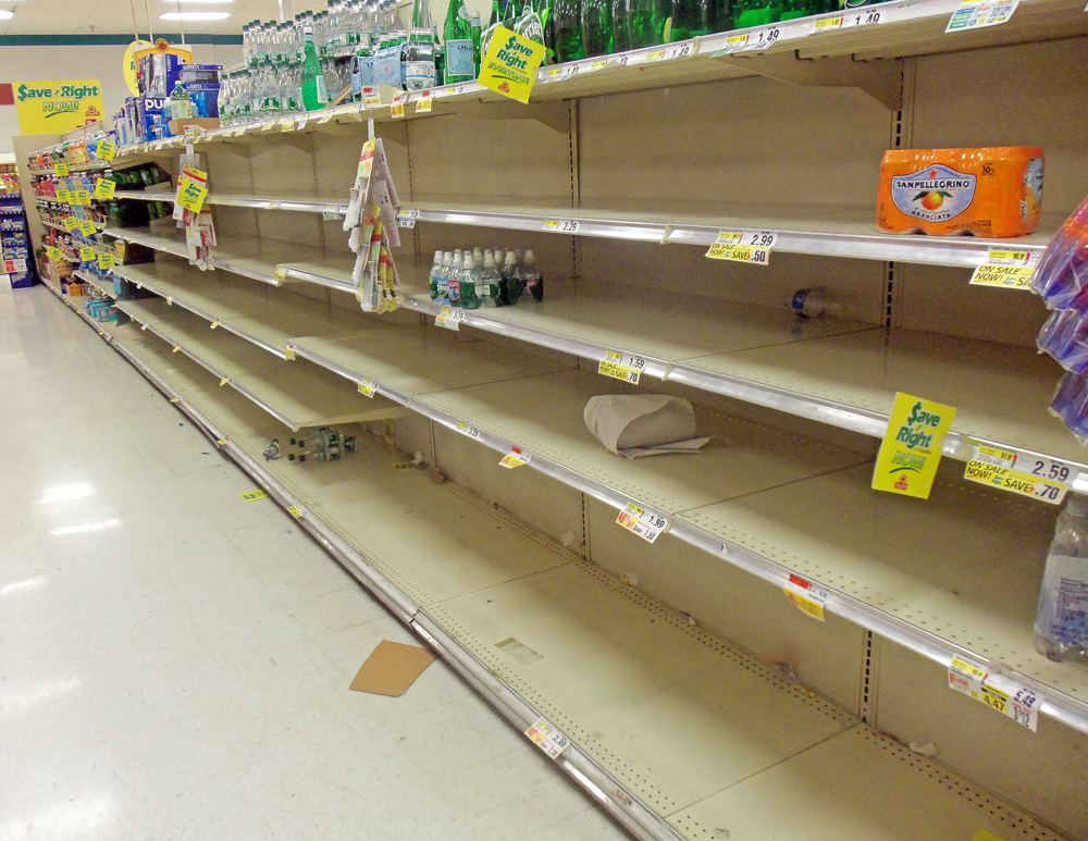 Empty supermarket shelves before Hurricane Sandy, Montgomery, NY