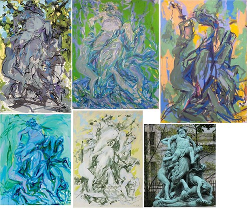 A handful of Elaine de Kooning's Bacchus paintings and the statue that inspired them
