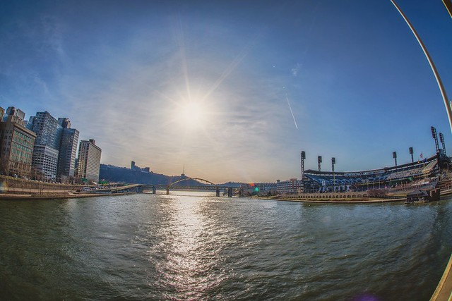 A sunflare over the Allegheny River as seen from the Roberto Clemente Bridge HDR