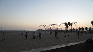 Image of Santa Monica Aerial Rings/Bars/Park Beach with a length of 139 meters. california sunset beach pier dusk santamonica travellingswingsset