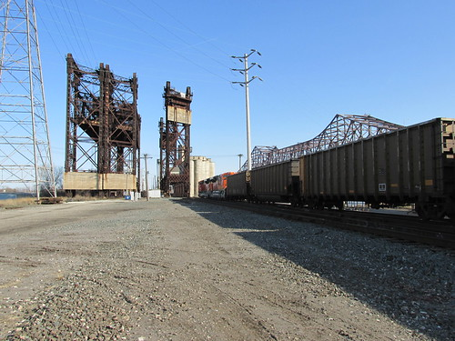 Eastbound BNSF Railway unit coal train entering a lift bridge over the Calumet River.  Chicago Illinois.  Sunday, April 21st, 2013. by Eddie from Chicago