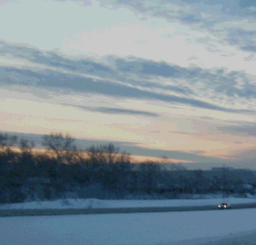 Winter Drive at Sunset  (Modified Photo) by randubnick