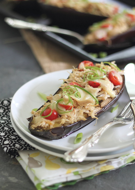 Cheesy chicken stuffed eggplant