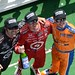 Dario Franchitti, Scott Dixon, and Charlie Kimball selebrate an all-Chip Ganassi podium