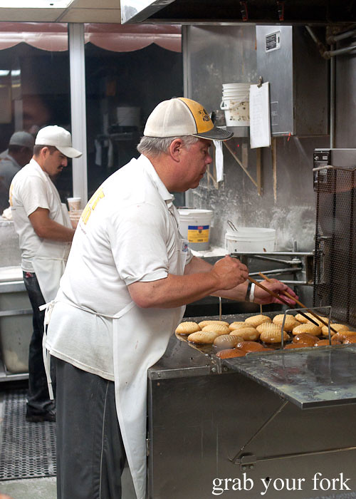 frying donuts at the donut man inglewood la los angeles