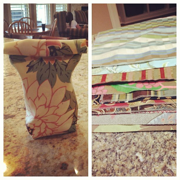 Are you sick of my posts yet?  Another project. Homemade fabric lunch bag.  I couldn't pass up buying these designer upholstery swatches since they were 50 cents at Joann's. Now I'm trying to figure out how to use them!!!