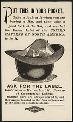 Don't buy a hat without a label, and see that it is sewed in. Don't patronize a dealer who has loose labels on hand and offers to put one in your hat. Loose labels in retail stores are counterfeits. [back]