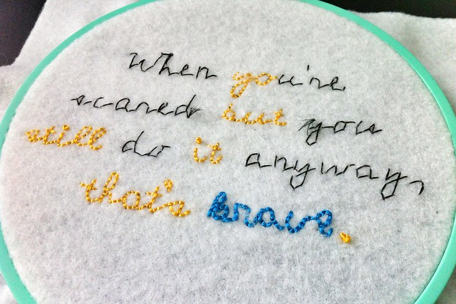 Coraline Quote Embroidery WIP