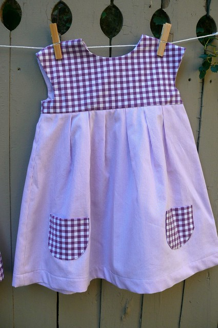 Baby dresses made with cotton shirting from Mood Fabrics.